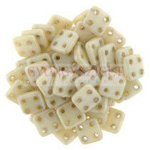 Cseh négylyukú négyzet - Quadra Tile gyöngy -  Alabaster Champagne Luster - 6x6mm