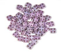 Cseh négylyukú négyzet - Quadra Tile gyöngy -  Alabaster Purple Luster - 6x6mm