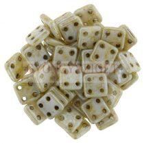 Cseh négylyukú négyzet - Quadra Tile gyöngy -  Alabaster Dark Traventin - 6x6mm