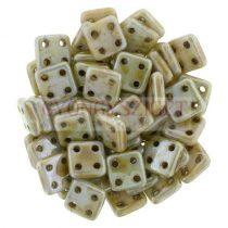 Cseh négylyukú négyzet - Quadra Tile gyöngy -  Alabaster Green Luster Brown Marble - 6x6mm