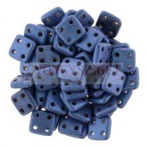 Cseh négylyukú négyzet - Quadra Tile gyöngy -  Matte Metallic Blue - 6x6mm