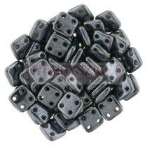 Cseh négylyukú négyzet - Quadra Tile gyöngy - Gunmetal - 6x6mm