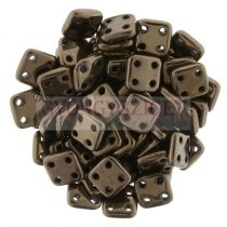 Cseh négylyukú négyzet - Quadra Tile gyöngy -  Dark Bronze - 6x6mm