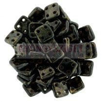 Cseh négylyukú négyzet - Quadra Tile gyöngy - Black Bronze Picasso - 6x6mm