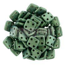 Cseh négylyukú négyzet - Quadra Tile gyöngy -  Metallic Sueded Green - 6x6mm