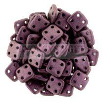 Cseh négylyukú négyzet - Quadra Tile gyöngy -  Metallic Sueded Pink - 6x6mm