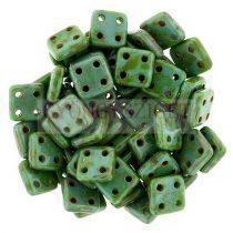 Cseh négylyukú négyzet - Quadra Tile gyöngy - Gold Luster Turquoise Green - 6x6mm