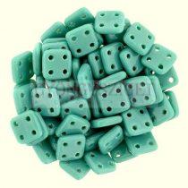 Cseh négylyukú négyzet - Quadra Tile gyöngy - Persian Turquoise Green - 6x6mm