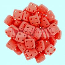 Cseh négylyukú négyzet - Quadra Tile gyöngy -  Matte Red - 6x6mm