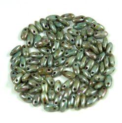 Rizo gyöngy-zöld-barna márvány-2,5x6mm