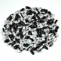 Rizo - Czech Glass Bead-fekete ezüst-2,5x6mm