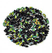 Rizo gyöngy-fekete vitrail-2,5x6mm