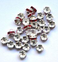 Rondelle ezüst színű - light siam strasszal - 5mm