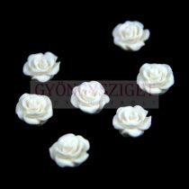 Plastic rose bead - White - 10mm