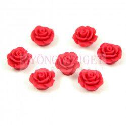Műanyag alul fúrt rózsa gyöngy - Cherry Red - 10mm