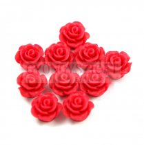 Műanyag alul fúrt rózsa gyöngy - Red - 10mm