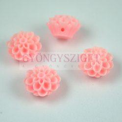 Műanyag alul fúrt rózsa gyöngy - Pink - 14mm