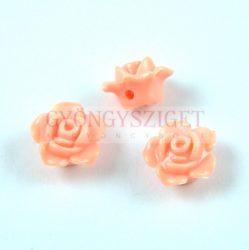 Műanyag alul fúrt rózsa gyöngy - Peach - 12 x 7.5 mm