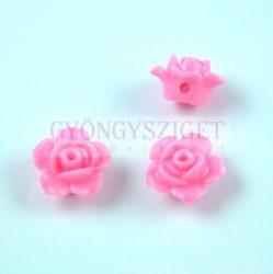 Műanyag alul fúrt rózsa gyöngy - Pink - 12 x 7.5 mm