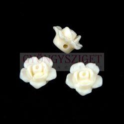 Műanyag alul fúrt rózsa gyöngy - White - 12 x 7.5 mm