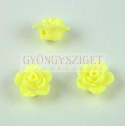 Műanyag alul fúrt rózsa gyöngy - Yellow - 12 x 7.5 mm