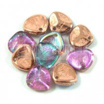 Préselt rózsaszirom gyöngy - Rose Petal -  crystal copper rainbow - 8x7mm