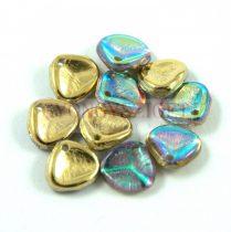 Préselt rózsaszirom gyöngy - Rose Petal -  crystal golden rainbow - 8x7mm