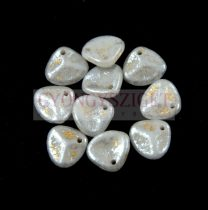 Préselt rózsaszirom gyöngy - Rose Petal - Alabaster Silver Patina - 8x7mm