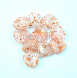 Préselt rózsaszirom gyöngy - Rose Petal - Alabaster Copper Patina - 8x7mm
