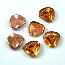 Rose Petal - Czech Glass Bead - Topaz Capri Gold - 14x13mm