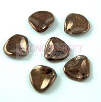 Rose Petal - Czech Glass Bead - Jet Bronze - 14x13mm