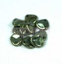 Préselt rózsaszirom gyöngy - Rose Petal -  metallic green -8x7mm
