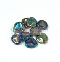 Préselt rózsaszirom gyöngy - Rose Petal - Metallic Green Iris - 8x7mm - 100db