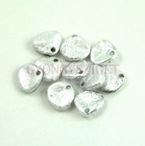 Préselt rózsaszirom gyöngy - Rose Petal -  Jet Silver Etched - 8x7mm