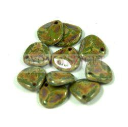 Préselt rózsaszirom gyöngy - Rose Petal -  sötét zöld traventin -8x7mm