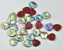 Préselt rózsaszirom gyöngy - Rose Petal -  red opal matt ab -8x7mm
