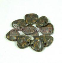 Préselt rózsaszirom gyöngy - Rose Petal -  red opal matt traventin -8x7mm