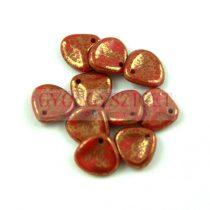 Préselt rózsaszirom gyöngy - Rose Petal - Red Coral Bronze Luster - 8x7mm