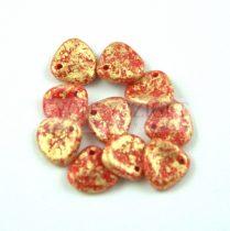 Préselt rózsaszirom gyöngy - Rose Petal - Red Coral Gold Patina - 8x7mm