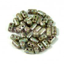 Rulla gyöngy-3x5mm - zöld barna márvány