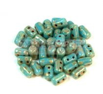Rulla gyöngy-3x5mm - türkiz kék picasso