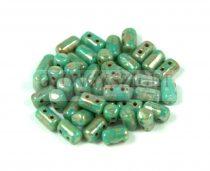 Rulla gyöngy-3x5mm - türkiz zöld picasso