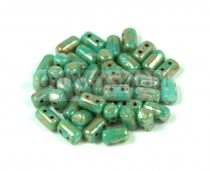 Rulla bead turquoise green picasso 3x5mm