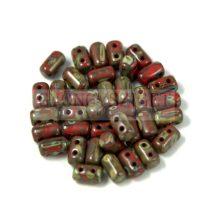 Rulla gyöngy-3x5mm - kőmintás telt bordó
