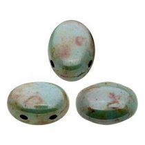 Samos® par Puca®gyöngy - Opaque Blue Green Ceramic Look - 5x7 mm