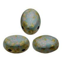 Samos® par Puca®gyöngy - Opaque Aqua Deep Gold - 5x8 mm