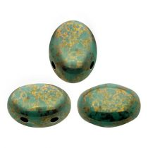 Samos® par Puca®gyöngy - Opaque Green Turquoise Bronze - 5x8 mm