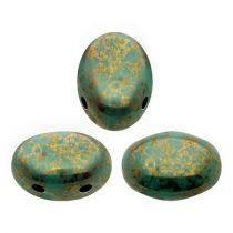 Samos® par Puca®gyöngy - Opaque Green Turquoise Bronze - 5x8 mm
