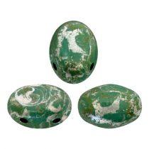 Samos® par Puca®gyöngy - Opaque Green Turquoise Patina Silver- 5x7 mm