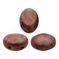 Samos® par Puca®gyöngy - Opaque Coral Red Deep Gold - 5x8 mm